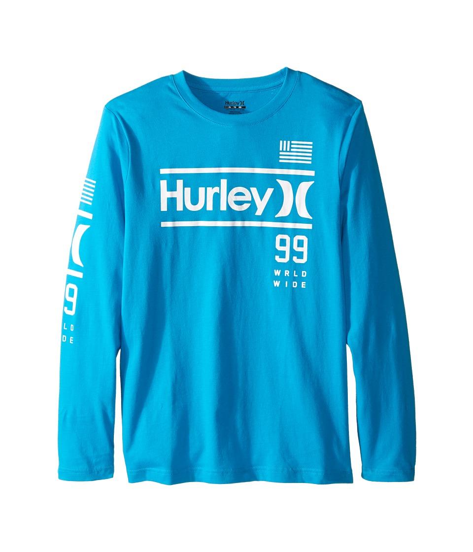 Hurley Kids - Pride Only Long Sleeve Tee (Big Kids) (Blue Lagoon) Boy