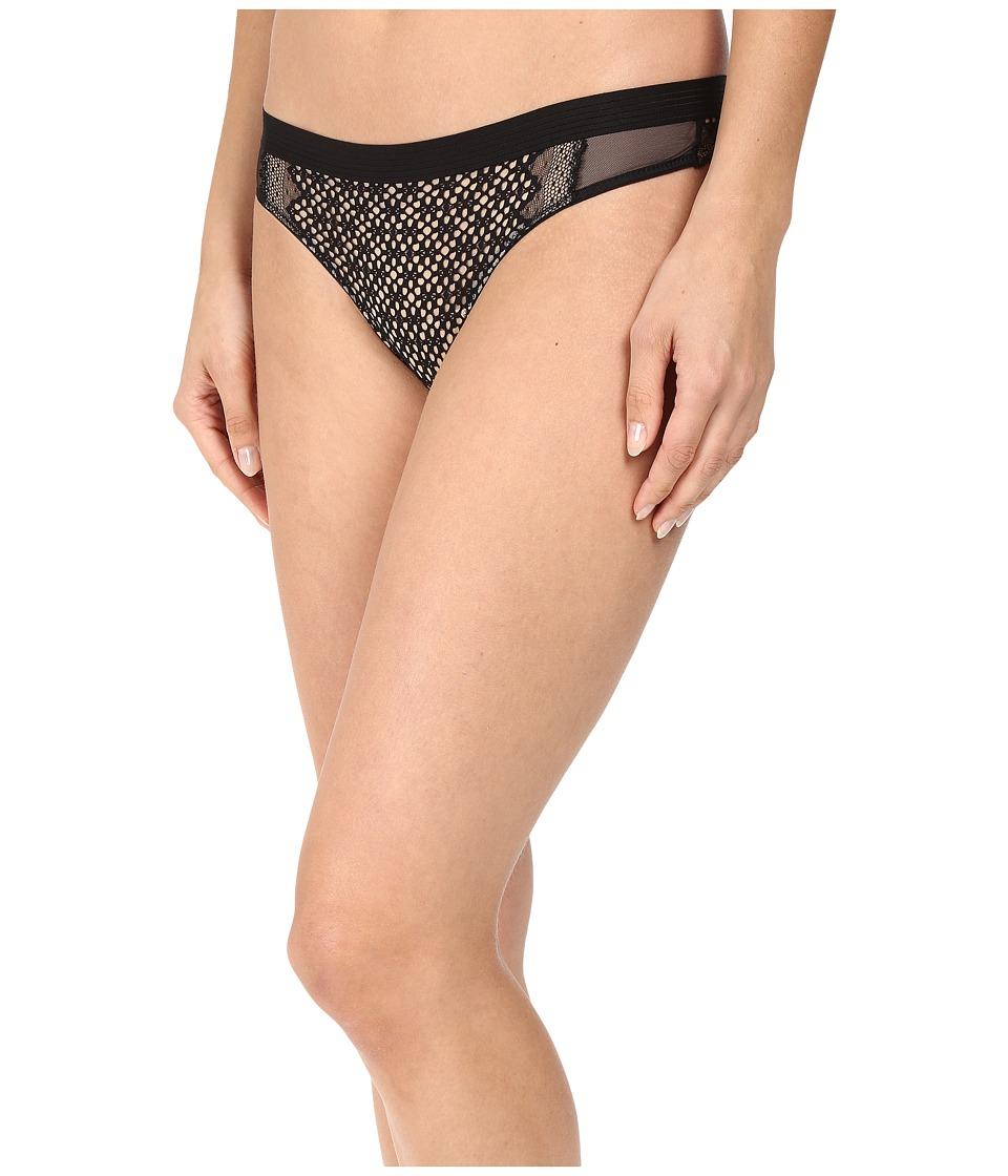 DKNY Intimates - Sheer Lace Thong (Black/Skinny Dip) Women's Underwear