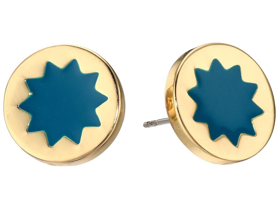 House of Harlow 1960 - Enameled Sunburst Studs Earrings (Dark Teal) Earring