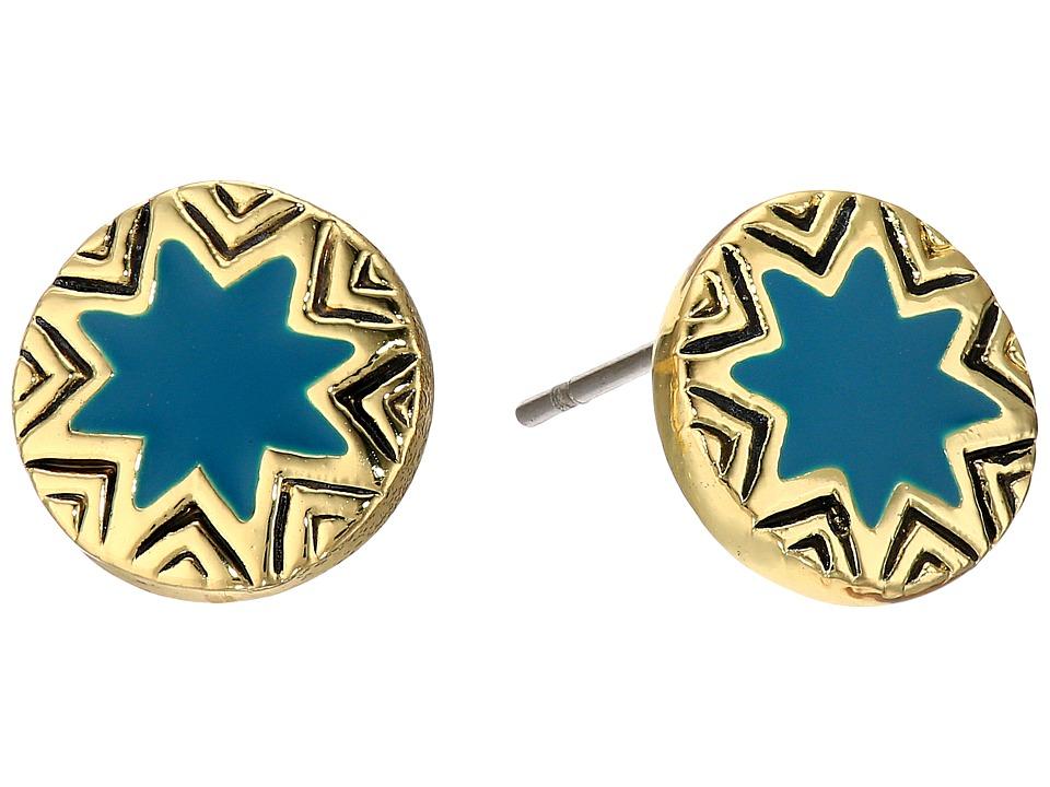 House of Harlow 1960 - Engraved Sunburst Stud Earrings (Dark Teal) Earring