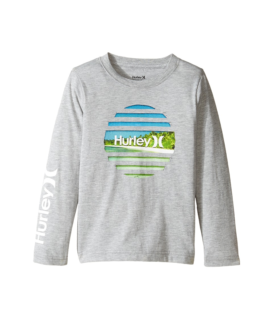 Hurley Kids Tear Horizon Long Sleeve Tee (Little Kids) (Dark Grey Heather) Boy