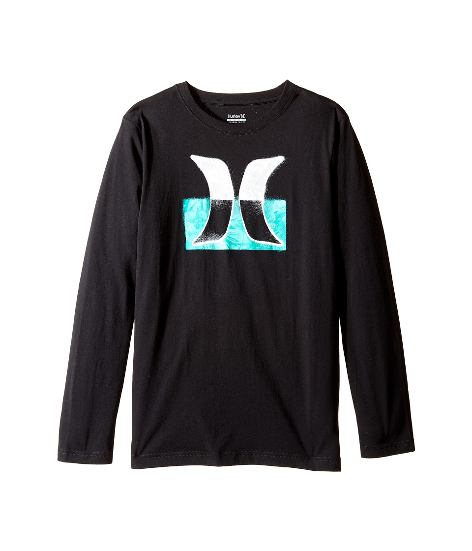 Hurley Kids Overspray Long Sleeve Tee (Big Kids) (Black) Boy