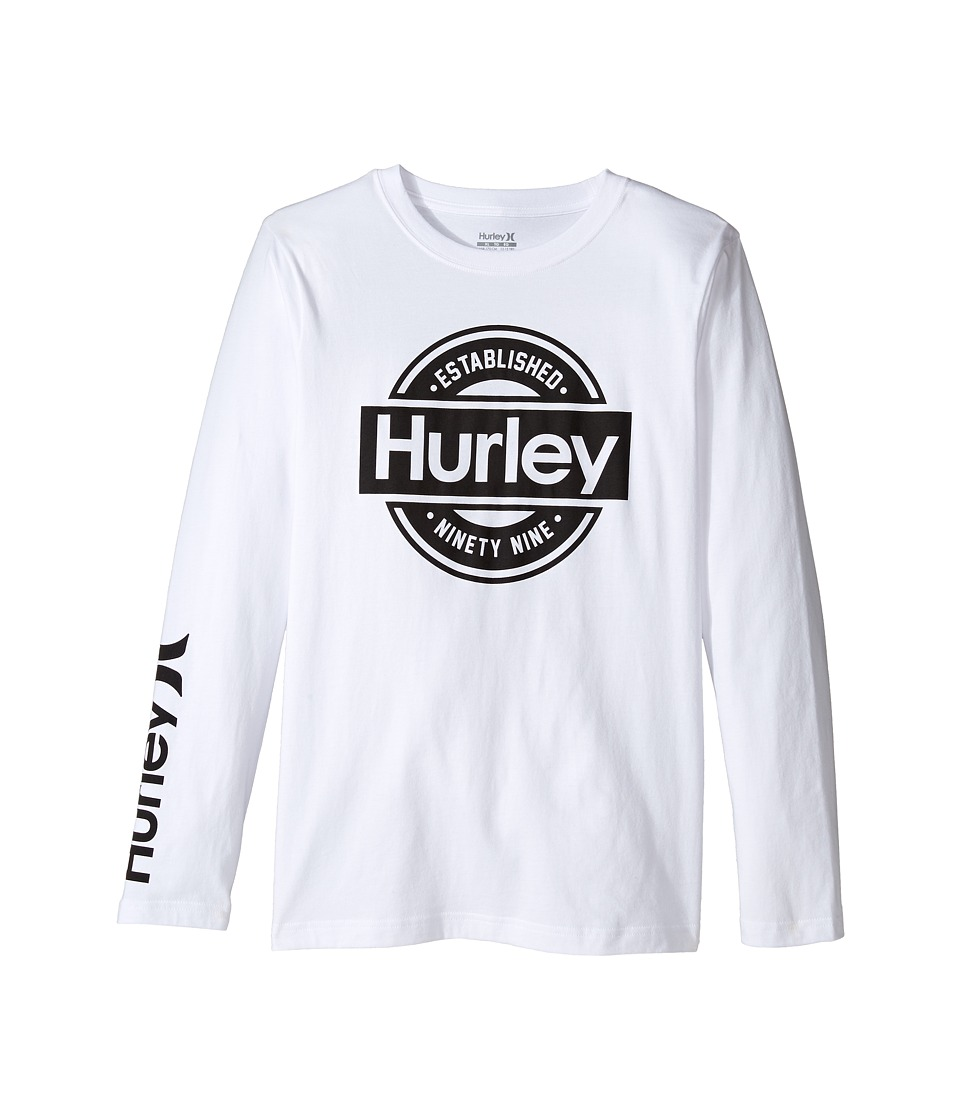Hurley Kids Long Sleeve Tee (Big Kids) (White) Boy