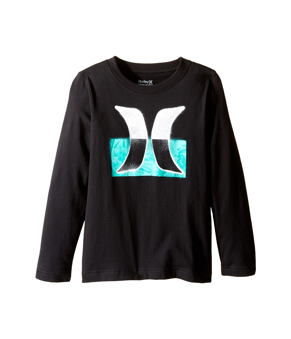 Hurley Kids Overspray Long Sleeve Tee (Little Kids) (Black) Boy