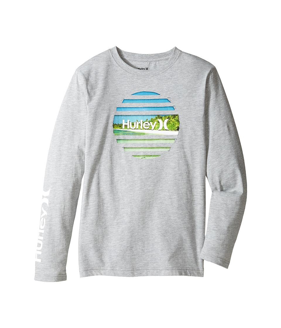 Hurley Kids Tear Horizon Long Sleeve Tee (Big Kids) (Dark Grey Heather) Boy