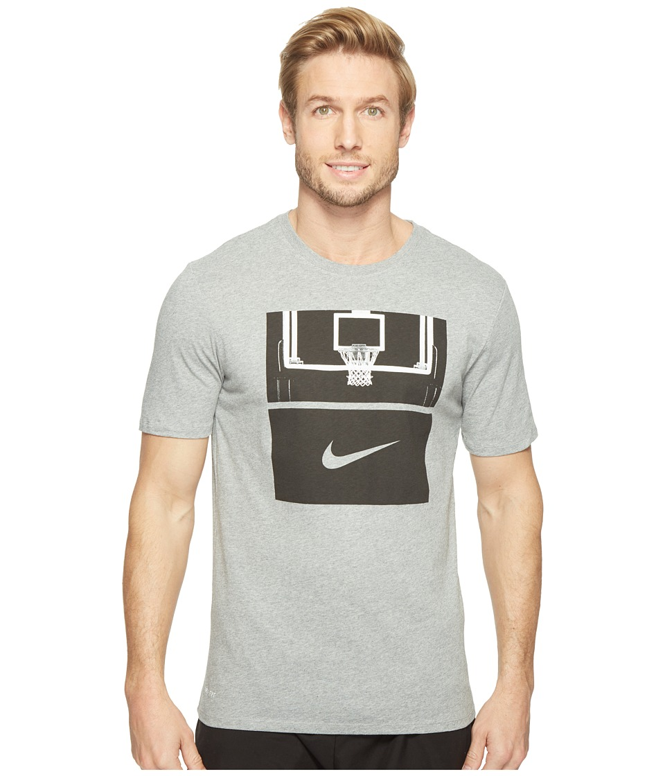 Nike Dry Basketball Hoop T-Shirt (Dark Grey Heather/Dark Grey Heather/Black) Men