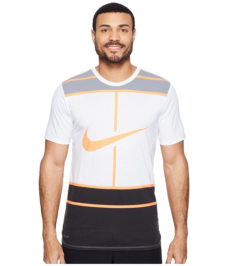 Nike Court Dry Tennis T-Shirt (White/Bright Mango) Men