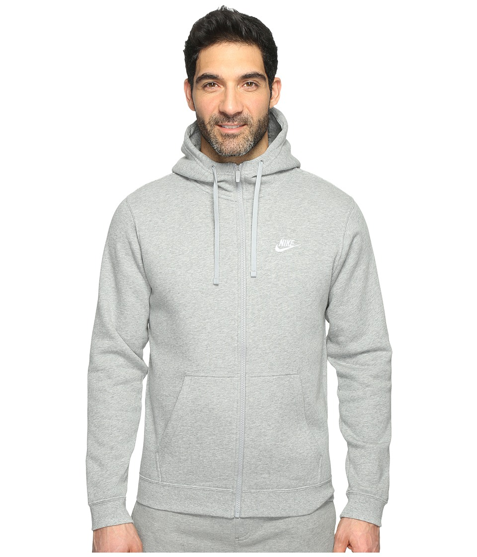 Nike Club Fleece Full-Zip Hoodie (Dark Grey Heather/Dark Grey Heather/White) Men