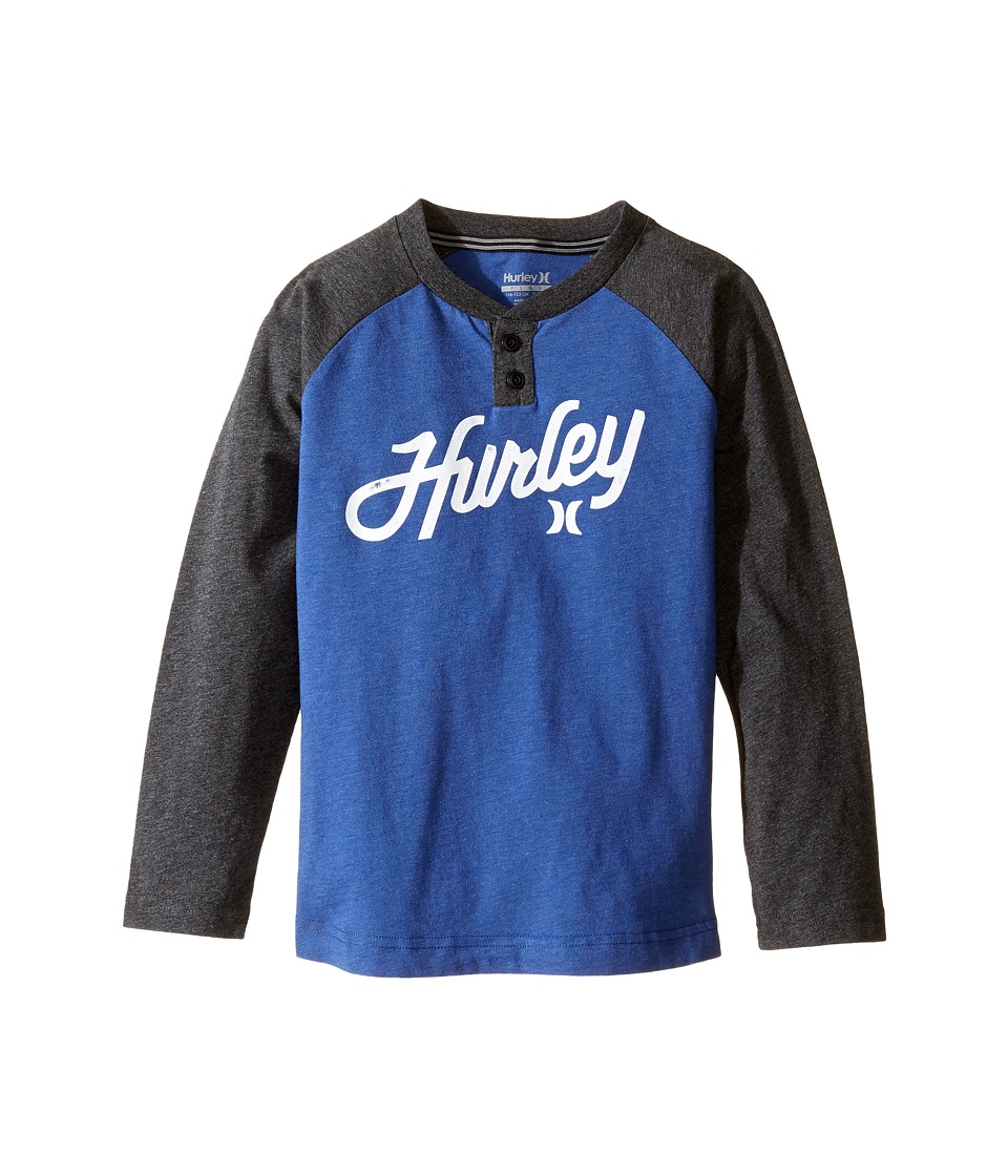 Hurley Kids Thermal Raglan Henley (Little Kids) (Lyon Blue Heather) Boy