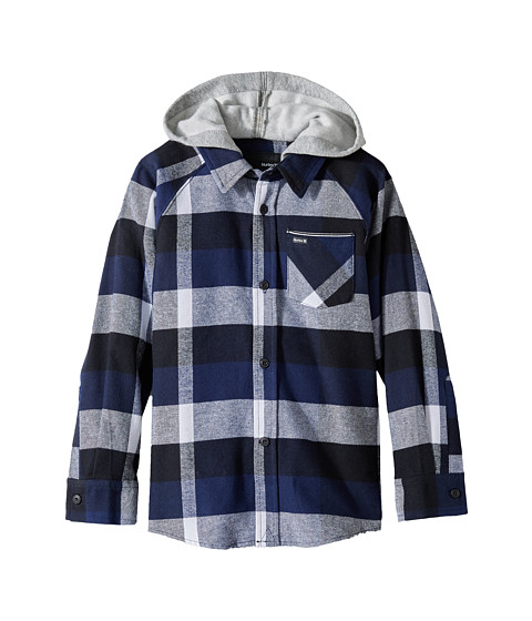Hurley Kids Hooded Long Sleeve Flannel (Little Kids)