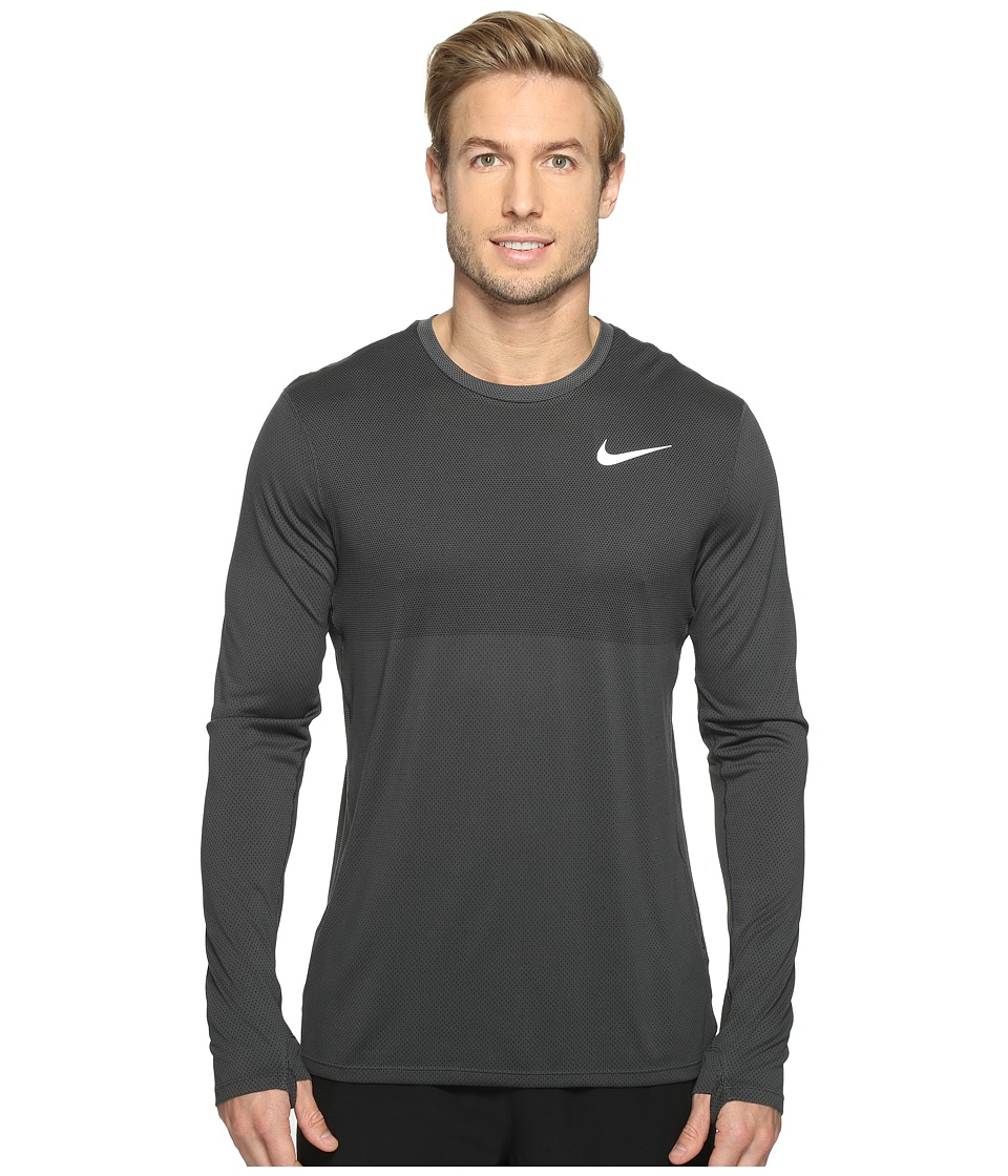 Nike - Zonal Cooling Relay Long Sleeve Running Top (Anthracite) Men's Clothing