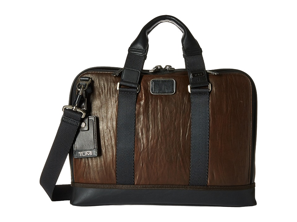 Tumi - Alpha Bravo - Leather Andrews Slim Brief (Dark Brown) Briefcase Bags