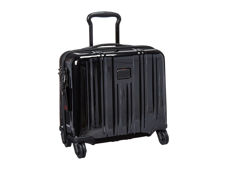 Tumi - V3 Compact Carry-On 4 Wheel Briefcase (Black) Briefcase Bags
