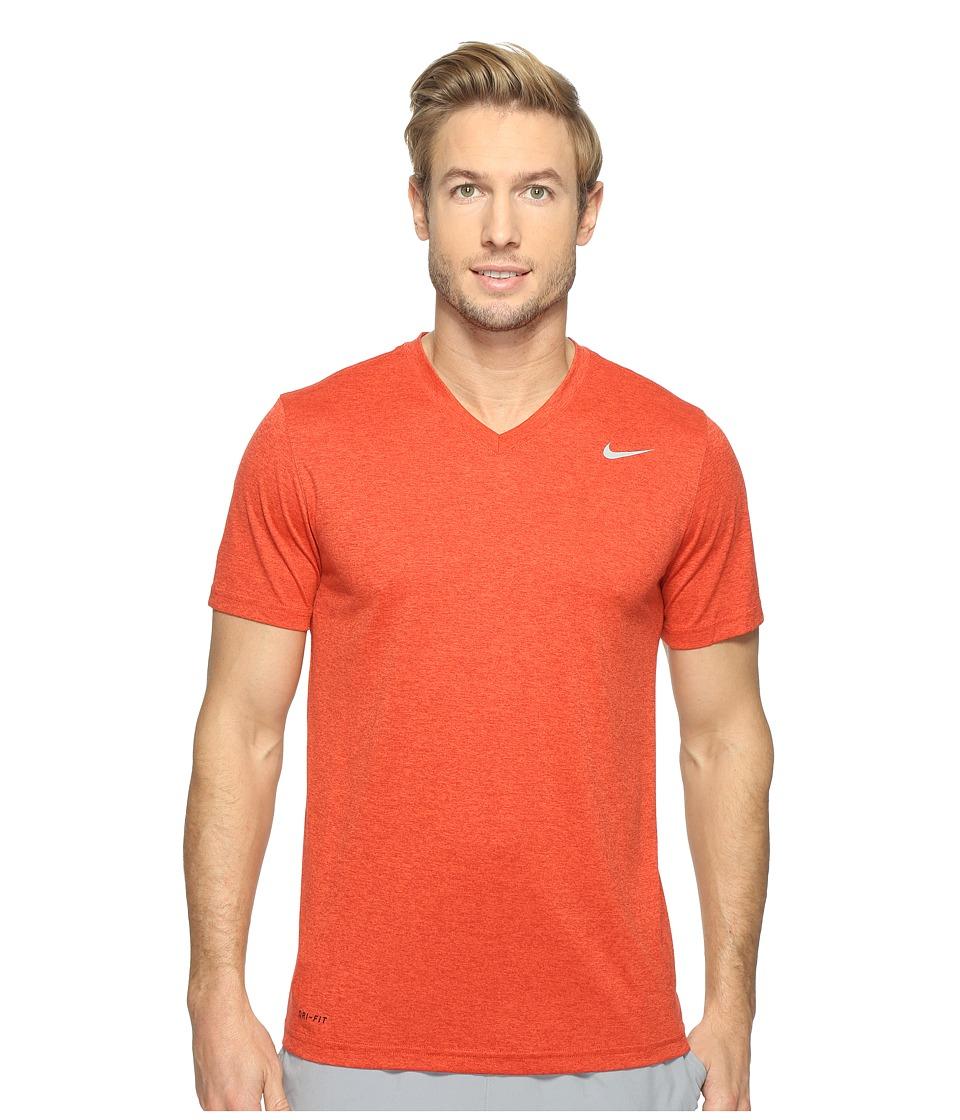 Nike Legend 2.0 Short Sleeve V-Neck Tee (Dark Cayenne/Max Orange/Matte Silver) Men