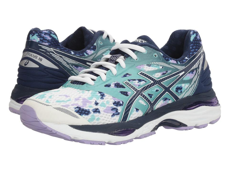 ASICS - Gel-Cumulus 18 (White/Indigo Blue/Lavender) Womens Running Shoes