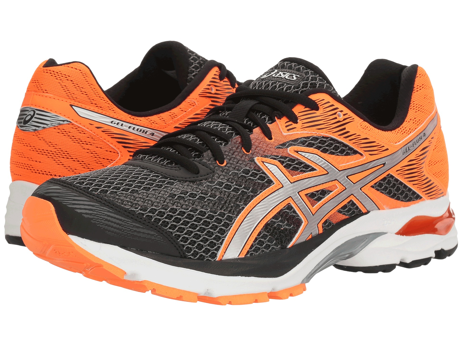 asics gel flux 4 black silver hot orange free. Black Bedroom Furniture Sets. Home Design Ideas