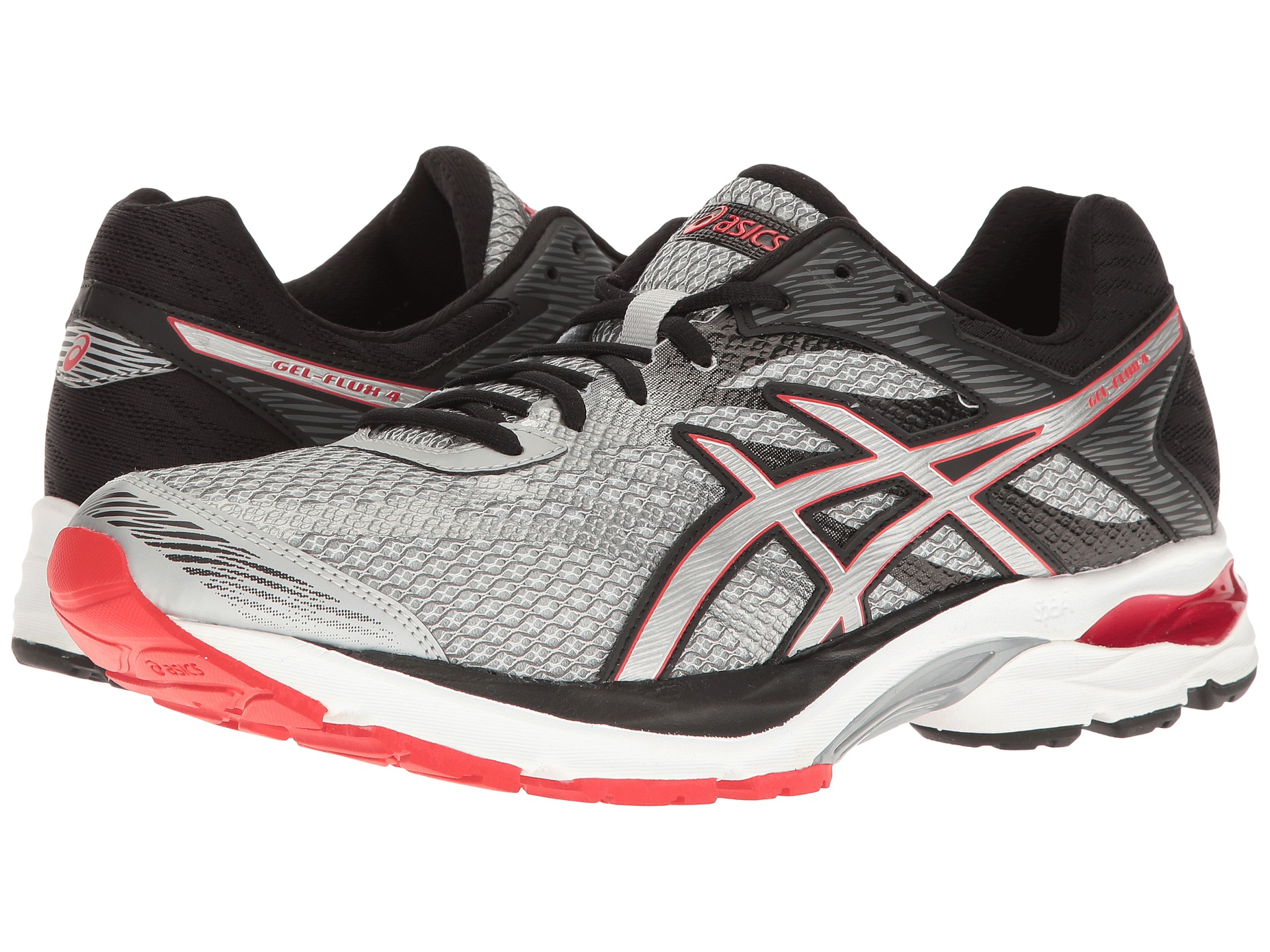 asics gel flux 4 glacier grey silver vermillion zappos. Black Bedroom Furniture Sets. Home Design Ideas