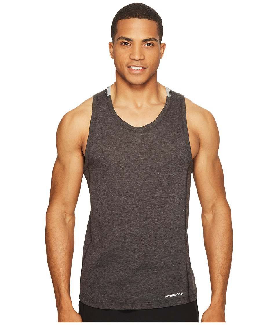 Brooks Distance Tank Top (Heather Black/Heather Sterling) Men