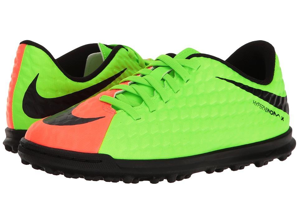 Nike Kids Hypervenom Phade III TF Soccer (Little Kid/Big Kid) (Electric Green/Black Hyper/Orange Volt) Kids Shoes