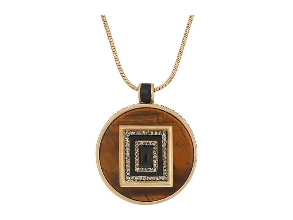 House of Harlow 1960 - Lady of the Lake Circle Pendant Necklace (Tiger's Eye) Necklace