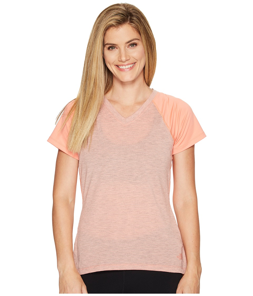 The North Face Reactor V-Neck Short Sleeve Shirt (Burnt Coral) Women