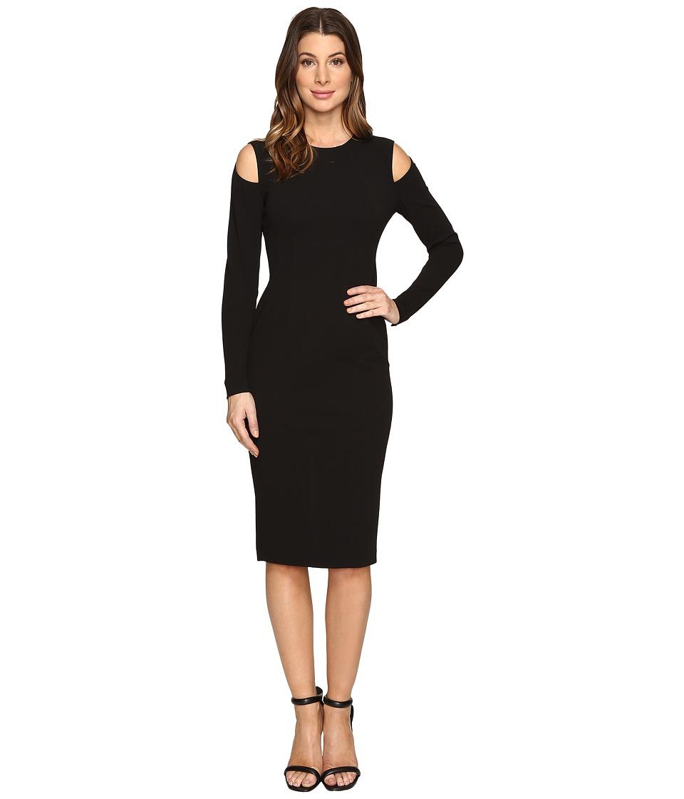 Donna Morgan Cold Shoulder Bodycon Dress (Black) Women