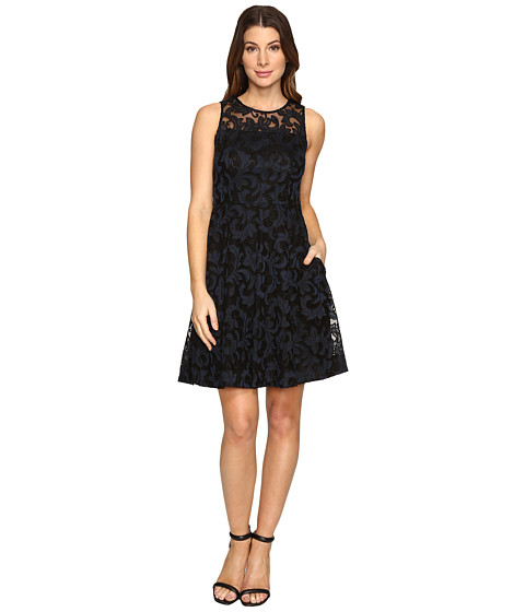 Donna Morgan Sleeveless Fit and Flare with Full Skirt - Black/Marine