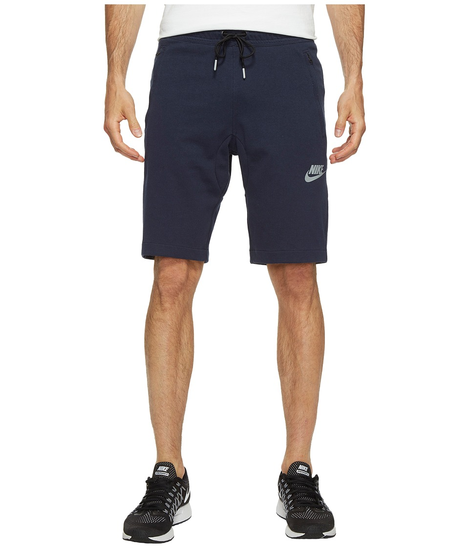 Nike NSW AV15 Fleece Shorts (Obsidian/Black/Wolf Grey/Wolf Grey) Men