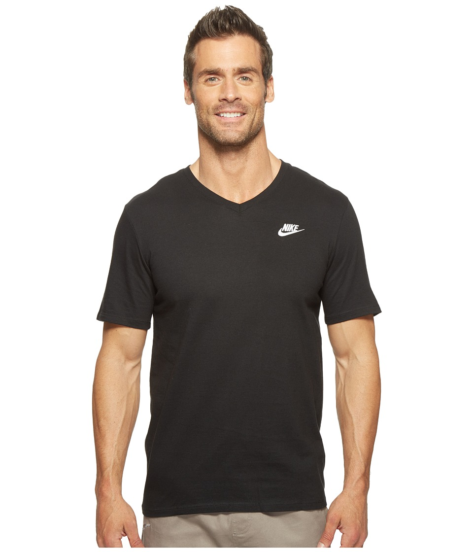 Nike Sportswear Futura V-Neck Tee (Black/Black/White) Men