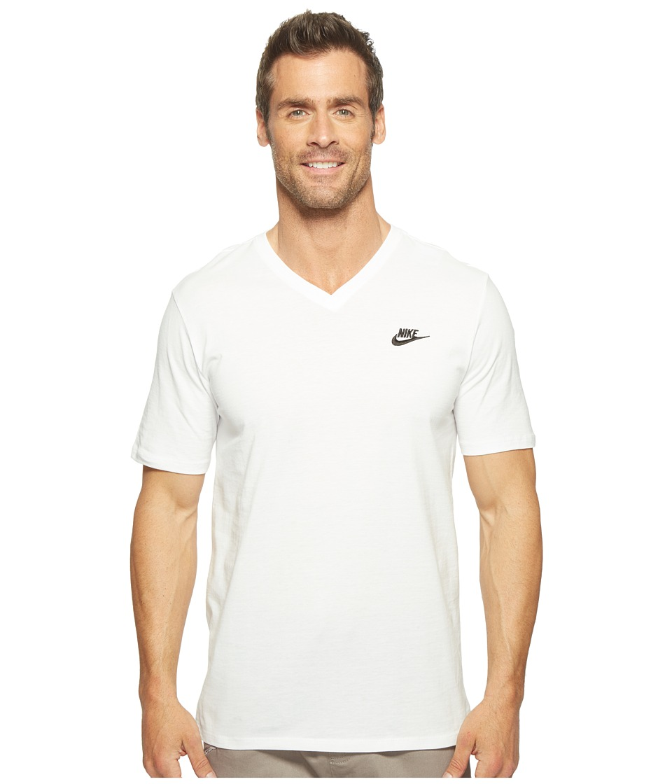 Nike Sportswear Futura V-Neck Tee (White/White/Black) Men