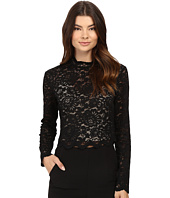 Nicole Miller - Floral Lace Mock Neck Top