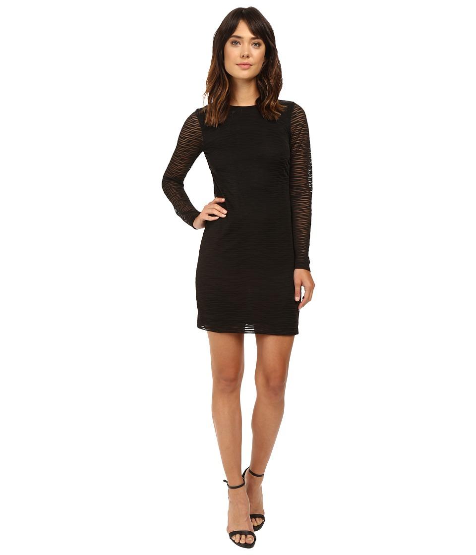 Nicole Miller Burnout Jersey Long Sleeve Dress (Black) Women