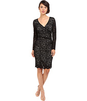 Nicole Miller - Floral Stretch Lace Long Sleeve Dress