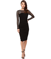 Nicole Miller - Eloise Long Sleeve Ponte Mesh Combo Dress