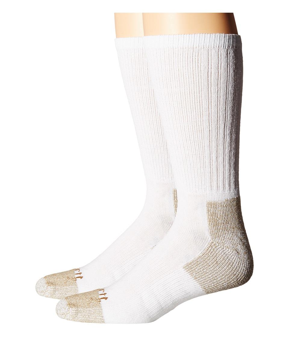 Carhartt - All-Season Steel Toe Cotton Crew Work Socks 2-Pack (White) Mens Crew Cut Socks Shoes