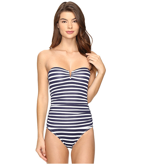 Tommy Bahama Breton Stripe V-Front Underwire Bandeau One-Piece Swimsuit - Mare Navy/White