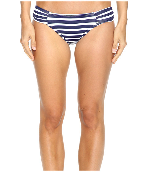 Tommy Bahama Breton Stripe Side-Shirred Hipster Bikini Bottom - Mare Navy/White