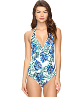 Tommy Bahama - Fronds Floating Twist-Front Halter One-Piece Swimsuit