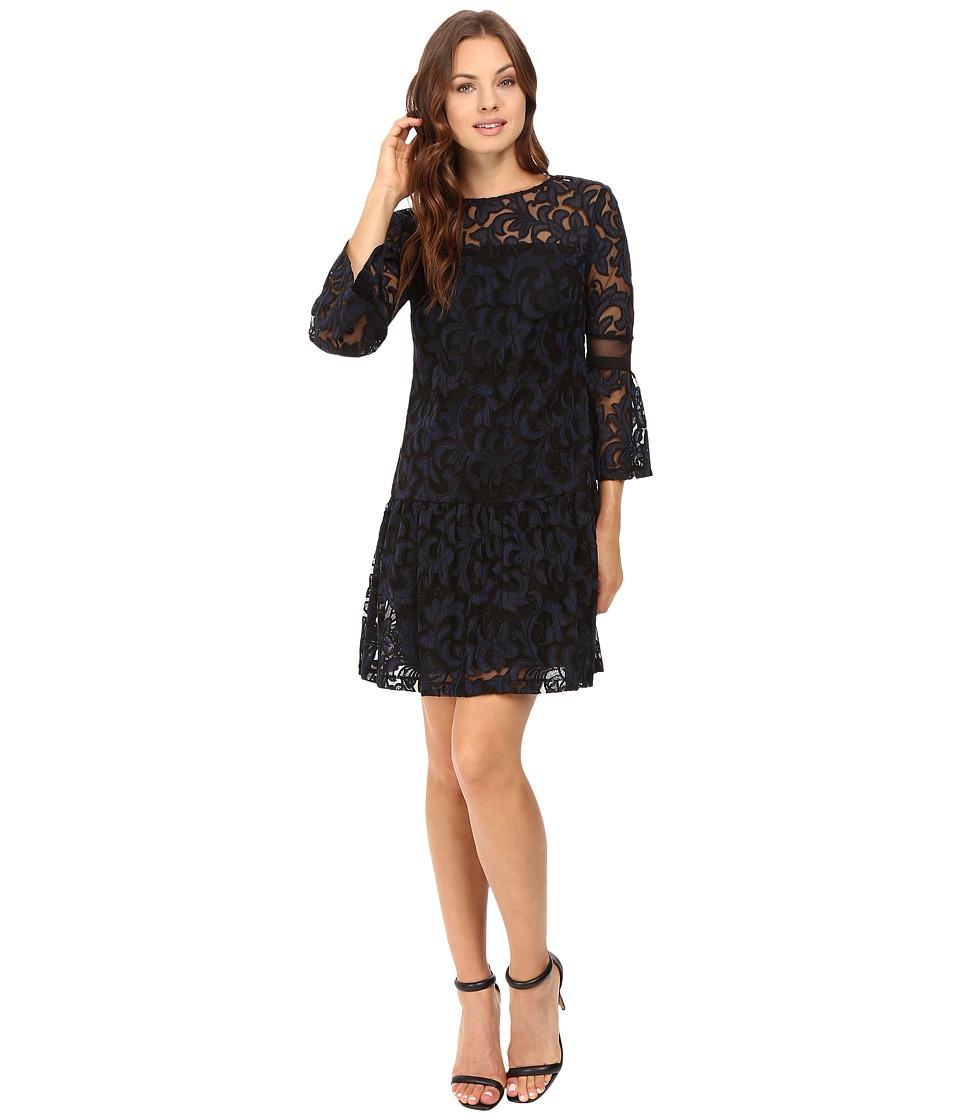 Donna Morgan A-Line Dress with Ruffle Hem (Black/Marine) Women