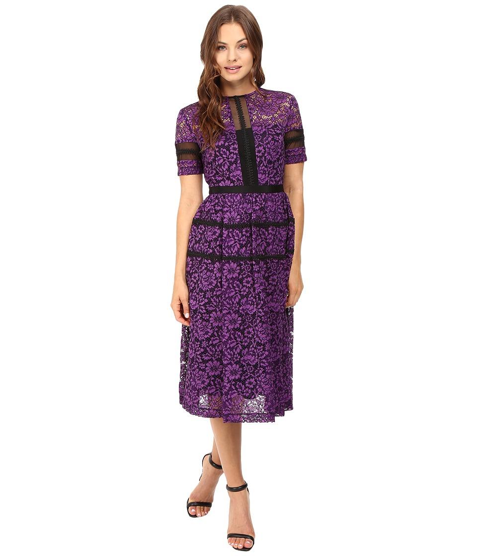 Donna Morgan Fit and Flare Illusion (Purple Dahlia) Women