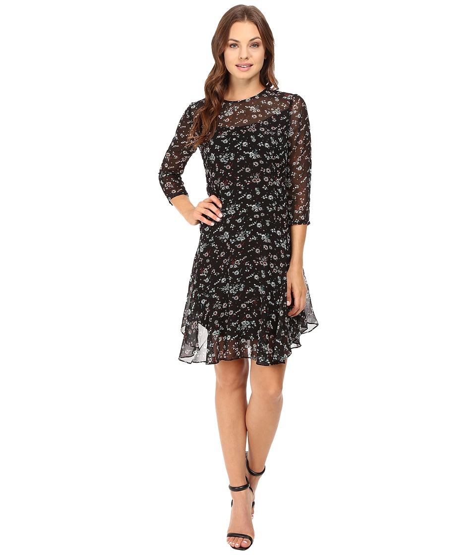 Donna Morgan 3/4 Sleeve A-Line Dress (Deep Black) Women