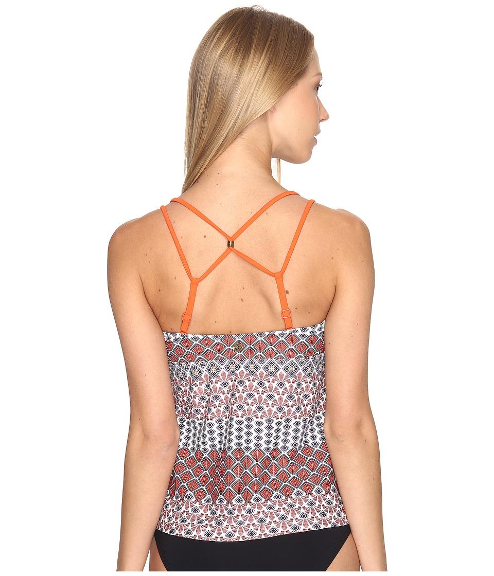 Prana - Azora Tankini Top (Electric Orange Sevilla) Womens Swimwear