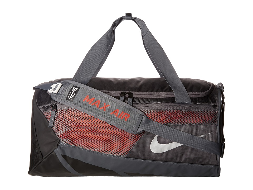 Nike Vapor Max Air 2.0 Medium Duffel Bag (Dark Grey/Max Orange/Metallic Silver) Duffel Bags