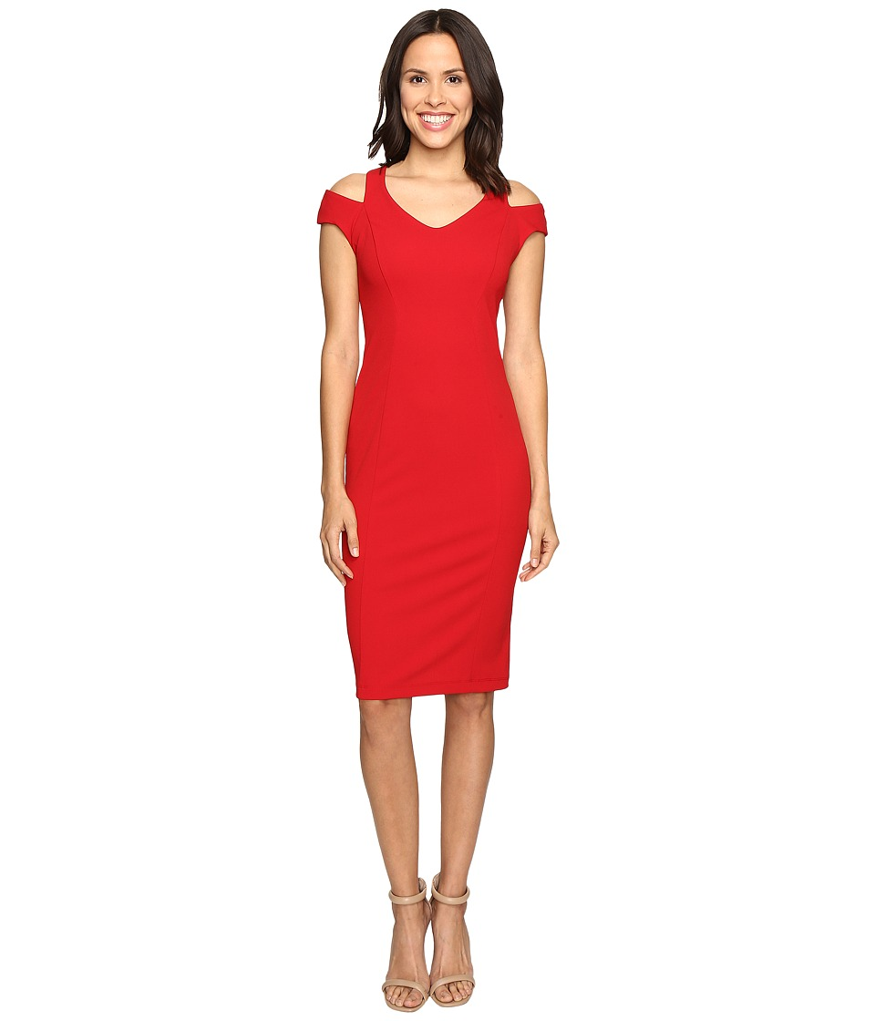 Christin Michaels Daisy Cold Shoulder Dress (Red) Women