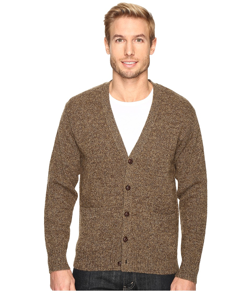 1950s Style Mens Clothing Pendleton - Shetland Cardigan Coffee Heather Mens Sweater $110.00 AT vintagedancer.com