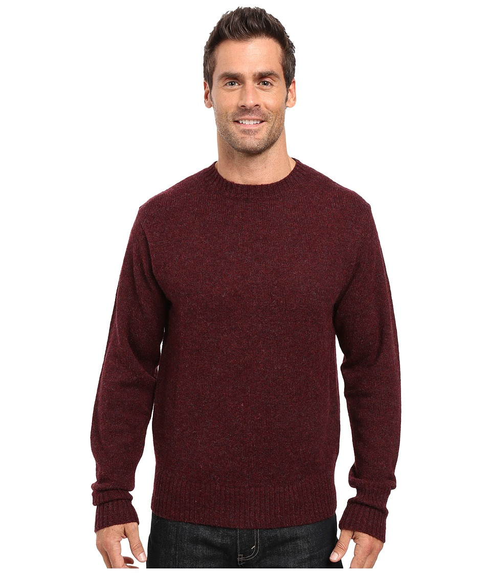 Men's Vintage Style Sweaters – 1920s to 1960s Pendleton - Shetland Crew Sweater Maroon Heather Mens Sweater $89.50 AT vintagedancer.com