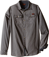 7 For All Mankind Kids - Long Sleeve Poplin Button Up Shirt with Chambray (Big Kids)