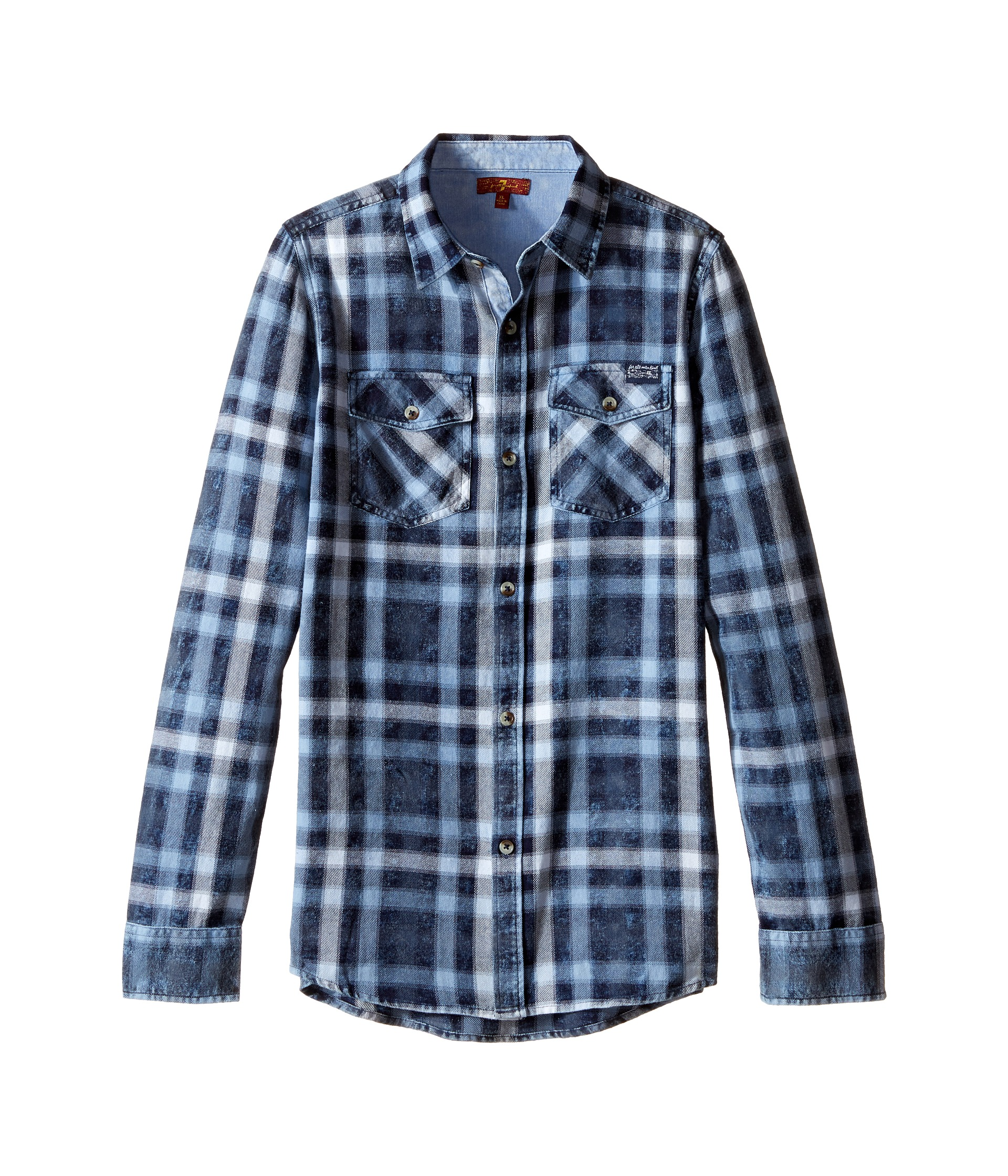 7 for all mankind kids long sleeve button up plaid flannel for Button up flannel shirts