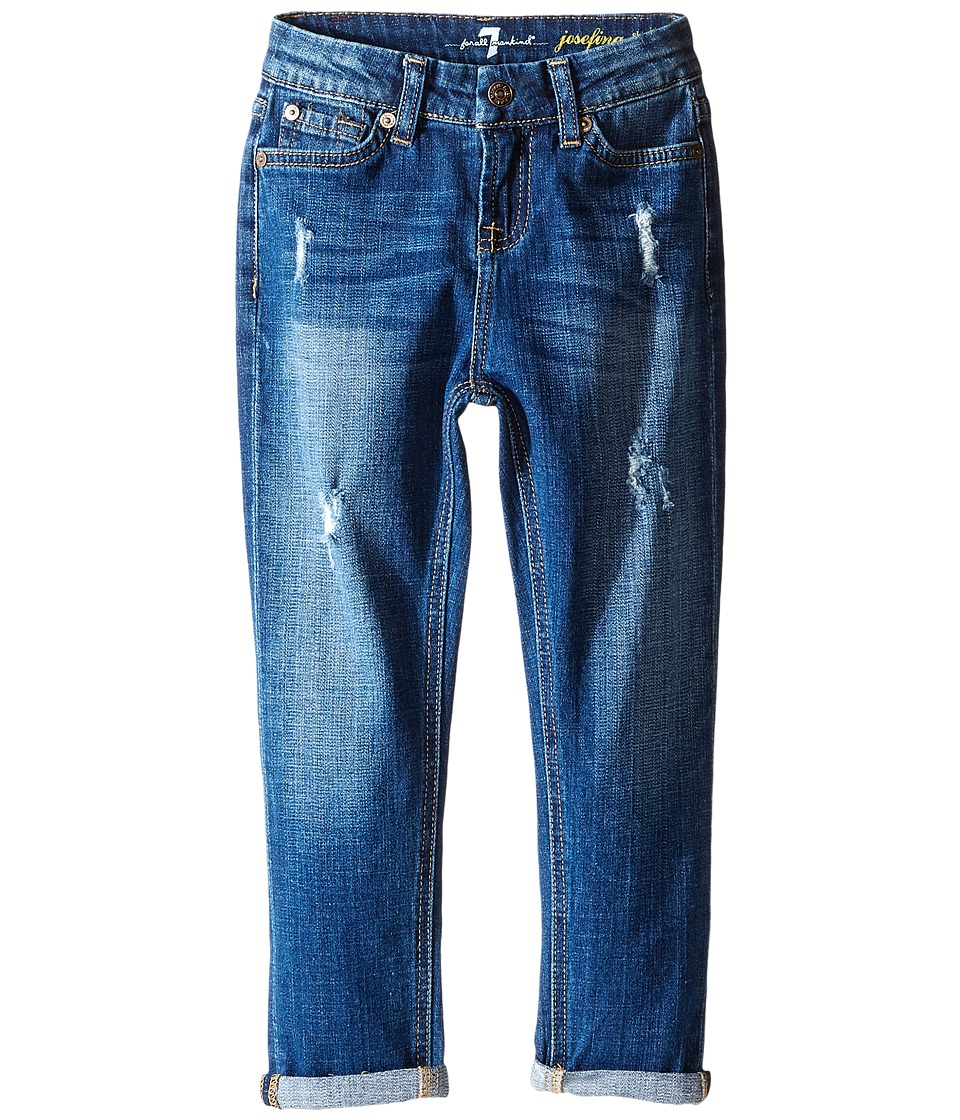 7 For All Mankind Kids - Josefina Skinny Boyfriend Stretch Twill Jeans in Royal Broken Twill