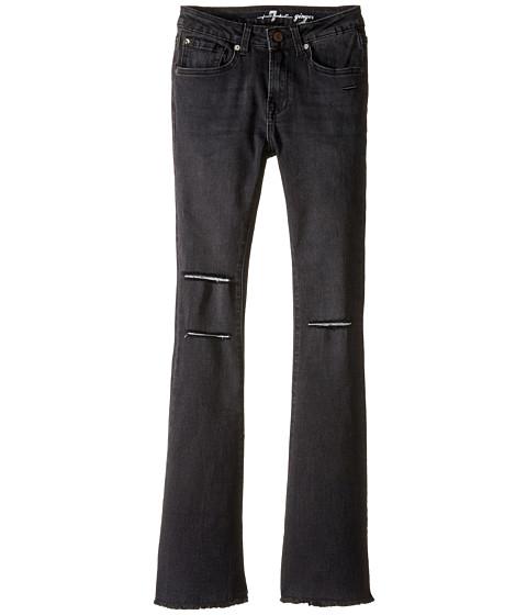 7 For All Mankind Kids The Ginger Wide Leg Flare Stretch Denim Jeans in Destroyed Black (Big Kids)